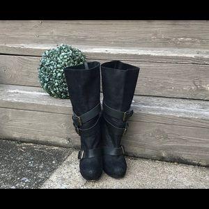 Aldo Black Suede Boots with Buckles